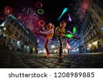night street circus performance ... | Shutterstock . vector #1208989885
