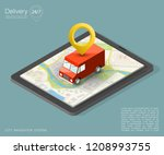 city map navigation route ... | Shutterstock .eps vector #1208993755