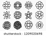 flower set in hand drawing... | Shutterstock .eps vector #1209020698
