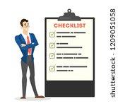 businessman in suit standing at ... | Shutterstock .eps vector #1209051058