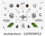 set realistic christmas objects ... | Shutterstock .eps vector #1209058912