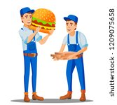 pizza  fast food delivery man... | Shutterstock .eps vector #1209075658