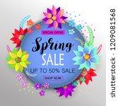 floral spring sale card.... | Shutterstock . vector #1209081568