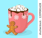 hot chocolate or cacao in red...   Shutterstock .eps vector #1209081628