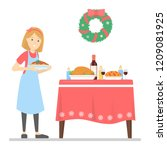 woman prepare christmas dinner... | Shutterstock .eps vector #1209081925