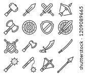 set of fighting knight swords.... | Shutterstock .eps vector #1209089665