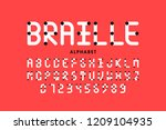braille alphabet letters and... | Shutterstock .eps vector #1209104935