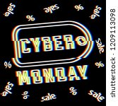 label with title cyber monday.... | Shutterstock .eps vector #1209113098