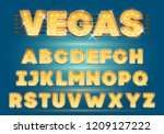 font with lamps. gold light... | Shutterstock .eps vector #1209127222