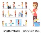 woman clean home and doing a... | Shutterstock .eps vector #1209134158