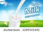 milk pouring down with splash... | Shutterstock .eps vector #1209141442