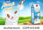 almond milk glass with splash... | Shutterstock .eps vector #1209141448