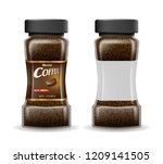 instant coffee glass jar with... | Shutterstock .eps vector #1209141505