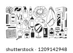 hand drawn set with beauty... | Shutterstock .eps vector #1209142948