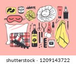 hand drawn set with beauty... | Shutterstock .eps vector #1209143722