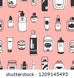 hand drawn seamless pattern... | Shutterstock .eps vector #1209145495