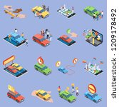 carsharing icons set with... | Shutterstock .eps vector #1209178492