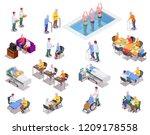 nursing home isometric icons... | Shutterstock .eps vector #1209178558