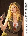 portrait of attractive woman in ... | Shutterstock . vector #1209179185