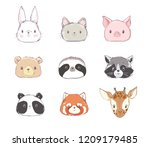 Stock vector cute set animals vector illustration rabbit bear panda cat sloth red panda pig raccoon 1209179485