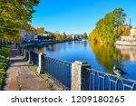 autumn city river embankment...   Shutterstock . vector #1209180265