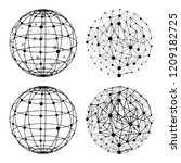wireframe sphere with dots set... | Shutterstock .eps vector #1209182725