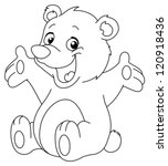 outlined happy teddy bear... | Shutterstock .eps vector #120918436