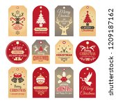 christmas labels. holiday tags... | Shutterstock .eps vector #1209187162
