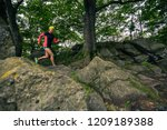 trail running girl in green...   Shutterstock . vector #1209189388