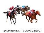 Stock photo jockey horse racing isolated on white background 1209195592