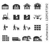 warehouse  icon vector | Shutterstock .eps vector #1209197392