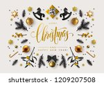 chic christmas postcard with... | Shutterstock .eps vector #1209207508