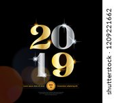metallic shiny 2019 new year... | Shutterstock .eps vector #1209221662