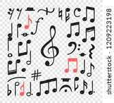hand drawn music notes... | Shutterstock .eps vector #1209223198