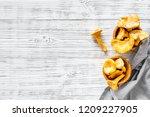 chanterelle mushroom. fresh raw ...   Shutterstock . vector #1209227905