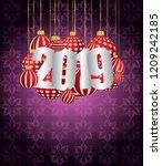 2019 happy new year seasonal... | Shutterstock . vector #1209242185