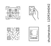 Stock vector barcodes linear icons set qr code scanning paper receipt in hand matrix barcode paper check 1209244042