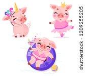set of cute cartoon pigs. pig... | Shutterstock .eps vector #1209255205