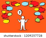 man who ask and many blank...   Shutterstock .eps vector #1209257728