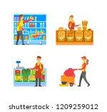 supermarket bakery and fruits... | Shutterstock .eps vector #1209259012
