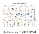 set of women doing exercises in ... | Shutterstock .eps vector #1209271978