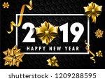 2019 ribbon black | Shutterstock .eps vector #1209288595
