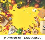 christmas tree with christmas... | Shutterstock . vector #1209300592