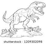 a tyrannosaurus rex outline...   Shutterstock .eps vector #1209302098