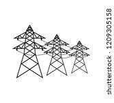 power lines icon  logo on white ... | Shutterstock .eps vector #1209305158
