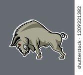 huge wild boar. cartoon  style. | Shutterstock .eps vector #1209321382
