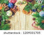 christmas background. happy new ... | Shutterstock . vector #1209331705