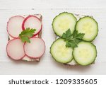 top view of healthy sandwiches... | Shutterstock . vector #1209335605