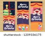 christmas day with children... | Shutterstock .eps vector #1209336175