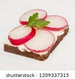healthy open sandwich on wooden ... | Shutterstock . vector #1209337315